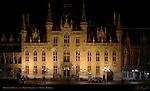 Provincial Palace at Night, Market Square, Bruges, Brugge, Belgium