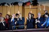 Washington, DC - March 8, 2009 -- United States Vice President Joe Biden (2-L) and his wife Jill (L), U.S. President Barack Obama  and first lady Michelle Obama (C) join Senator Ted Kennedy (Democrat- Massachusetts) (2-R) and his wife Victoria (R) at a musical tribute to celebrate Kennedy's birthday at the Kennedy Center in Washington, DC., USA, on Sunday, 08 March 2009. .Credit: Chris Usher - Pool via CNP