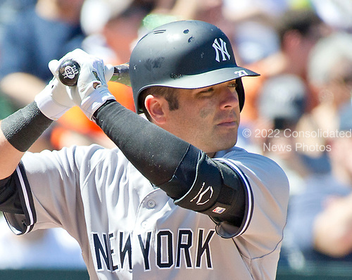 New York Yankees catcher Austin Romine (27) bats in the second inning against the Baltimore Orioles at Oriole Park at Camden Yards in Baltimore, MD on Sunday, April 9, 2017.<br /> Credit: Ron Sachs / CNP<br /> (RESTRICTION: NO New York or New Jersey Newspapers or newspapers within a 75 mile radius of New York City)