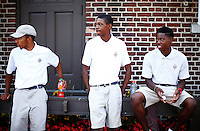 Members of the golf service staff of the Detroit Golf Club await participants for the 5th annual Jalen Rose Leadership Academy golf tournament at the Detroit Golf Club in Detroit, Michigan on Monday August 31, 2015. (Photo by Jared Wickerham/The Players Tribune)