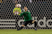 Goalkeeper Matt Pickens of the Colorado Rapids bloacks a knuckleball shot from LA Galaxy's Michael Stephens. The Colorado Rapids defeated the LA Galaxy 3-2 at Home Depot Center stadium in Carson, California on Saturday October 16, 2010.