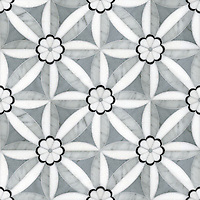 Edie, a natural stone waterjet mosaic shown in Nero, Bardiglio, Thassos, and Carrara, is part of the Silk Road Collection by Sara Baldwin for New Ravenna Mosaics. <br />