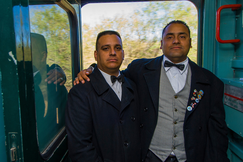 Conductors aboard the Chihuahua al Pacifico Railroad (Chepe) heading to the Copper Canyon at El Fuerte, Mexico