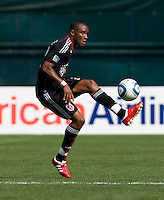 Rodney Wallace (22) of D.C. United takes a first touch on the ball at RFK Stadium in Washington, DC.  The New York Red Bulls defeated D.CC United, 2-0.