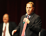 Hugh Freeze speaks after he was announced as the new head football coach of the Mississippi Rebels during a press conference at the Ford Center on campus in Oxford, Miss. on Monday, December 5, 2011.  (AP Photo/Oxford Eagle, Bruce Newman)