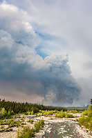 Smoke billows from the Eagle Trail forest fire near Tok, Alaska, May, 2010.