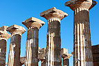 Greek Dorik columns at the  ruins of Temple F at Selinunte, Sicily photography, pictures, photos, images &amp; fotos. 68