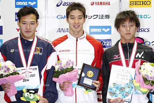 (L-R)<br /> Hirohumi Ikehata,<br /> Takuro Fujii,<br /> Takaya Yasue,<br /> APRIL 13, 2014 - Swimming : <br /> JAPAN SWIM 2014 <br /> Men's 100m Butterfly Vicrotry ceremony<br /> at Tatsumi International Swimming Pool, Tokyo, Japan. <br /> (Photo by AFLO SPORT)