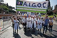 Roma 13 Maggio 2012. Marcia nazionale per la Vita contro la legge 194 sull'aborto organizzata dai movimenti cattolici..A.i.G.O.C., Associazione Italiana Ginecologi Ostetrici cattolici