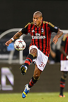 A. C. Milan midfielder Nigel De Jong (34). Chelsea F. C. defeated A. C. Milan 2-0 during round two of the 2013 Guinness International Champions Cup at MetLife Stadium in East Rutherford, NJ, on August 04, 2013.