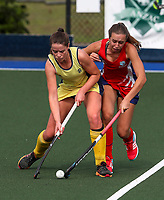 Action during the Secondary School Girls ANZAC hockey Invitational Tournament between Rangi Ruru and Bethlehem College at St Cuthbert's College, Remuera,  New Zealand. Friday 28 April 2017. Photo:Simon Watts / www.bwmedia.co.nz