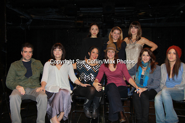 """Starring in the play are Kevin Corrigan, Ana Reader, Sarah Nina Hayon, Shira-Lee Shaulit, Audrey Exparza - Back right Paula Pizzi. One Life To Live Florencia Lozano wrote the play """"Busted"""" which was performed on November 5, 2011 at the Bank Street Theater, New York City, New York.  (Photo by Sue Coflin/Max Photos)"""