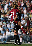 Texas A&M's Linda Pierson (21) and goalkeeper Kristin Arnold (r) celebrate after their team had taken a 1-0 lead in the 30th minute on Saturday, November 25th, 2006 at Fetzer Field in Chapel Hill, North Carolina. The University of North Carolina Tarheels defeated the Texas A&M Aggies 3-2 in an NCAA Division I Women's Soccer Championship quarterfinal game.