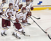 Matthew Gaudreau (BC - 21), Johnny Gaudreau (BC - 13), Adam Gilmour (BC - 14) - The Boston College Eagles defeated the visiting University of Massachusetts Lowell River Hawks 3-0 on Friday, February 21, 2014, at Kelley Rink in Conte Forum in Chestnut Hill, Massachusetts.
