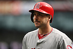 Los Angeles Angels left fielder Matt Joyce looks over the crowd before facing Seattle Mariners'  starting pitcher Felix Hernandez in the first inning of season home opener April 6, 2015 at Safeco Field in Seattle.  The Mariners beat the Angels 4-1.     ©2015. Jim Bryant Photo. ALL RIGHTS RESERVED.