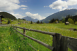 Wooden fence and spring meadow overlooked by snow covered mountains. Pitztal Valley, Imst district, Austria
