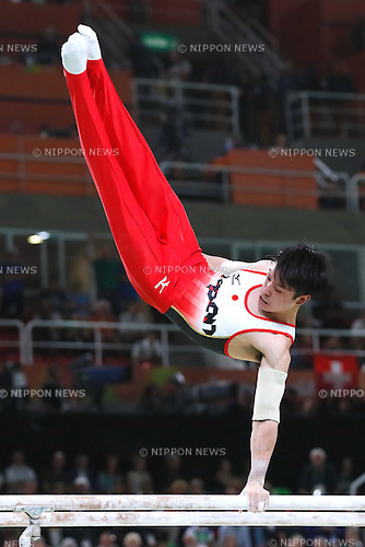Kohei Uchimura (JPN), <br /> AUGUST 8, 2016 - Artistic Gymnastics : <br /> Men's Final  <br /> Parallel Bars    <br /> at Rio Olympic Arena <br /> during the Rio 2016 Olympic Games in Rio de Janeiro, Brazil. <br /> (Photo by Sho Tamura/AFLO SPORT)