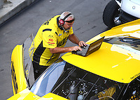 Jun 18, 2016; Bristol, TN, USA; Steve Petty , crew chief for NHRA pro mod driver Troy Coughlin during qualifying for the Thunder Valley Nationals at Bristol Dragway. Mandatory Credit: Mark J. Rebilas-USA TODAY Sports