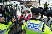 Anti fascists clash with EDL supporters at 'March for England' in Brighton. 21-4-13