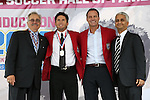 10 October 2013: 2013 inductee Joe-Max Moore (2nd from left) with Hank Steinbrecher, Eric Wynalda, and U.S. Soccer Federation president Sunil Gulati. The 2013 National Soccer Hall of Fame Induction Ceremony was held on the West Plaza outside Sporting Park in Kansas City, Kansas.