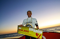 Event winner Dave Reardon Smith (AUS)..Cottesloe Beach, Perth, Western Australia, Saturday August 18 2001..A round of  The Quiksilver Airshow International Series, with $20,000 in prize-money was run today at Cottesloe Beach. The Quiksilver Airshow is the richest and most spectacular surfing event to be staged at a Perth Beach. The contest is based around the futuristic moves of aerial surfing, where each surfer  is judged on their best two aerial manoeuvres in each heat. (Photo: joliphotos.com)
