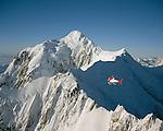 Helicopter scenic flight in Westland National Park. Mount Tasmand. New Zealand.