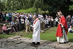 "The annual Padley Martyrs Roman Catholic Pilgrimage. Padley, Padley Chapel, Grindleford, Derbyshire  UK 2008. Bishop ""John Arnold"" with crook."