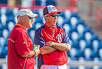 11 March 2013: Washington Nationals Manager Davey Johnson (right) has words with General Manager Mike Rizzo prior to a Spring Training game against the Atlanta Braves at Space Coast Stadium in Viera, Florida. The Braves defeated the Nationals 7-2 in Grapefruit League play. Mandatory Credit: Ed Wolfstein Photo *** RAW (NEF) Image File Available ***