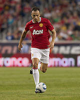 Manchester United FC forward Dimitar Berbatov (9) brings the ball forward. In a Herbalife World Football Challenge 2011 friendly match, Manchester United FC defeated the New England Revolution, 4-1, at Gillette Stadium on July 13, 2011.