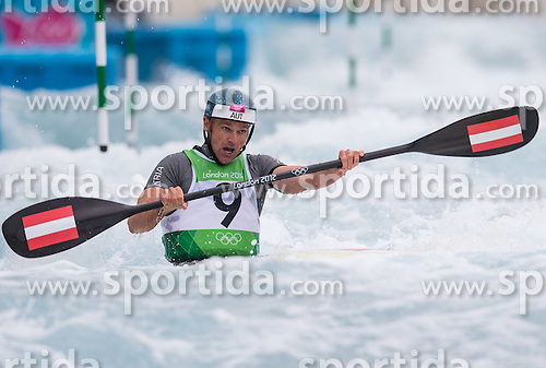 01.08.2012, Lee Valley White Water Centre, London, GBR, Olympia 2012, Schwimmen, Kajak, Herren, Halbfinale, im Bild Helmuth Oblinger (AUT) // Helmuth Oblinger of Austria during Kayak (K1) Men Semi-final at the 2012 Summer Olympics at Lee Valley White Water Centre, London, United Kingdom on 2012/08/01. EXPA Pictures © 2012, PhotoCredit: EXPA/ Johann Groder