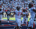 Jacksonville State offensive lineman Curt Porter (77) ce;ebrates as the Gamecocks tie the score at 34 at Vaught-Hemingway Stadium in Oxford, Miss. on Saturday, September 4, 2010. Jacksonville State won 49-48 in double overtime.