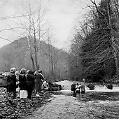 Blair, West Virginia.USA .January 16, 2005..A baptism in the freezing winter waters after Sunday service.