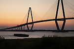 Arthur Ravenel Jr Bridge at Sunset from Mt Pleasant side of the Cooper River