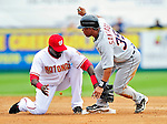 9 March 2010: Detroit Tigers' infielder Ramon Santiago is safe at second during a Spring Training game against the Washington Nationals at Space Coast Stadium in Viera, Florida. The Tigers defeated the Nationals 9-4 in Grapefruit League action. Mandatory Credit: Ed Wolfstein Photo