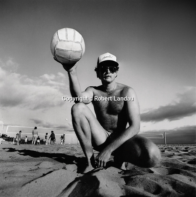 Black and white portrait of beach volleyball player in Santa Monica, California from Beach People Series.