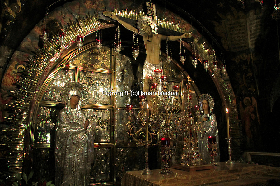 Israel, Jerusalem, the 12th Station of the Via Dolorosa at the Church of the Holy Sepulchre, the place of the Crucifixion, Golgotha in Aramic, Calvary in Latin