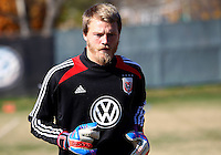 WASHINGTON, DC - NOVEMBER 14, 2012: Joe Willis (31) of DC United during a practice session before the second leg of the Eastern Conference Championship at DC United practice field, in Washington, DC on November 14.