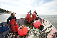 Personal use setnetters get ready to fish in Cook Inlet near the mouth of the Kasilof River on Alaska's Kenai Peninsula.