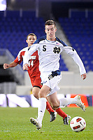 Jeb Brovsky (5) of the Notre Dame Fighting Irish. The Louisville Cardinals defeated the Notre Dame Fighting Irish 1-0 during the semi-finals of the Big East Men's Soccer Championship at Red Bull Arena in Harrison, NJ, on November 12, 2010.
