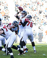 The Carolina Panthers defeated the Atlanta Falcons 34-10 in an inter-division rivalry played in Charlotte, NC at Bank of America Stadium.  Atlanta Falcons quarterback Matt Ryan (2)