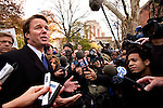 John Edwards, 2008 Democratic Presidential candidate, at union rally supporting striking writers and stage hands. Washington Square Park, NYC, 11/27/07.
