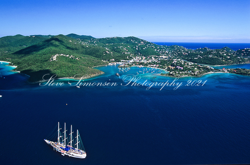 Aerial view of Cruz Bay, St. John.With a four masted cruise ship .U.S. Virgin Islands