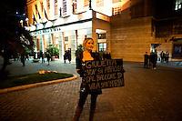 Roma, 4 Febbraio   2011.<br />  Protesta dei lavoratori dello spettacolo, al Teatro dell'Opera di Roma  durante opera lirica : L'elisir d'amore  di  Gaetano Donizetti , per protestare  contro i tagli del Governo alla cultura.<br /> Rome, February 4, 2011. . <br /> Entertainment workers protest , at the Teatro dell'Opera in Rome during opera L'elisir d'amore (The Elixir of Love)  by Gaetano Donizetti to protest against government cuts to culture.