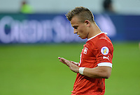 Fussball International  WM Qualifikation 2014   11.09.2012 Schweiz - Albanien Demuetiger Jubel nach dem Tor zum 1-0 durch Xherdan SHAQIRI (Schweiz)
