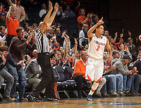Feb. 2, 2011; Charlottesville, VA, USA; Virginia Cavaliers guard Mustapha Farrakhan (2) reacts after shooting a three piont basket during the game against the Clemson Tigers at the John Paul Jones Arena. Mandatory Credit: Andrew Shurtleff