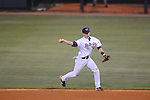 Ole Miss' Alex Yarbrough (2) throws to first for the out at Oxford-University Stadium in Oxford, Miss. on Friday, March 18, 2011. Ole Miss won 4-0. The Rebels are 15-4 on the season and 1-0 in SEC play.  (AP Photo/Oxford Eagle, Bruce Newman)
