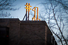 March 8, 2017; Grace Hall #1 sign lit in recognition of Men's Lacrosse ranking. (Photo by Matt Cashore/University of Notre Dame)
