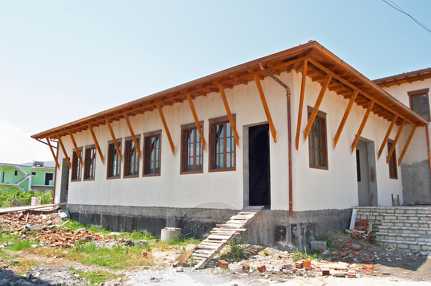 The new vinery building in traditional Berat Ottoman style. Cobo winery, Poshnje, Berat. Albania, Balkan, Europe.