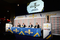Santa Clara, CA - Tuesday, March 07, 2017: Cobi Jones, CONCACAF General Secretary, Philippe Moggio, CONCACAF President, Victor Montagliani, Al Guido, Dave Kaval during the unveiling of the CONCACAF 2017 Gold Cup Groups & Schedule at Levi's Stadium.