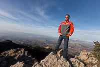 SPAIN, Alicante, 2nd November 2011. Volvo Ocean Race. The &ldquo;Everest of the ocean&rdquo; photo shoot atop the Cabeco d'Or. Franck Cammas, skipper,  Groupama Sailing Team.